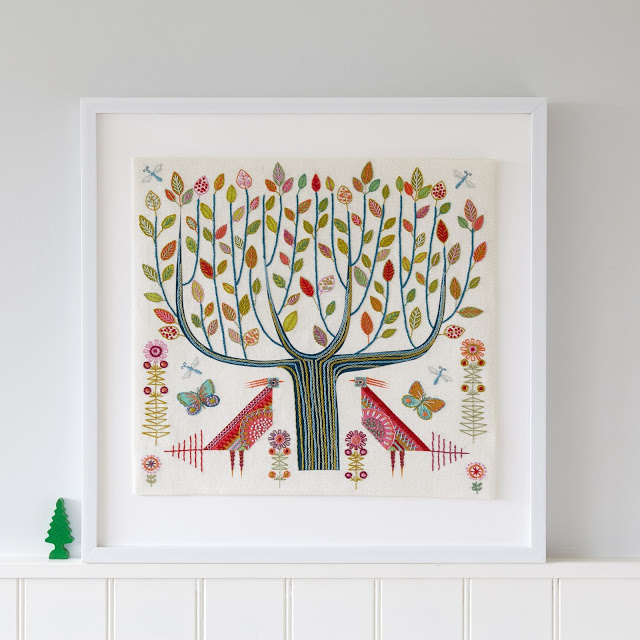 TREE Cushion Kit framed as a sampler