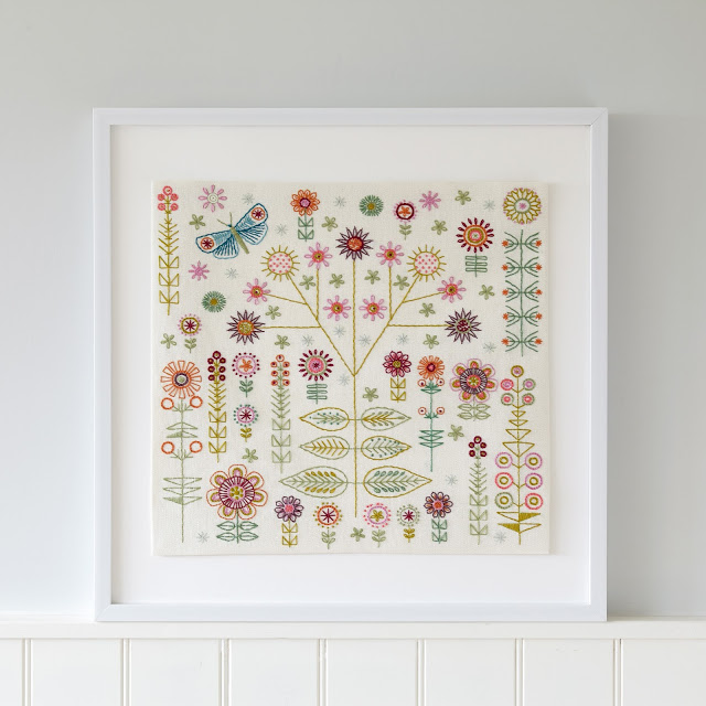 GARDEN Cushion Kit framed as a sampler
