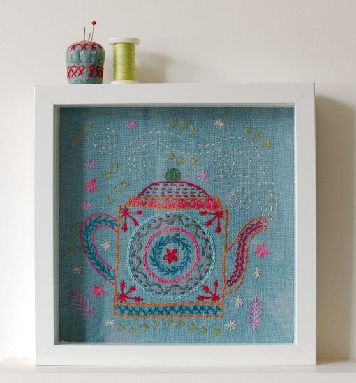 framed teapot sampler
