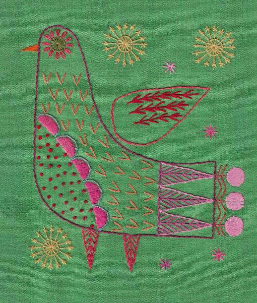 embroidered bird flat shot