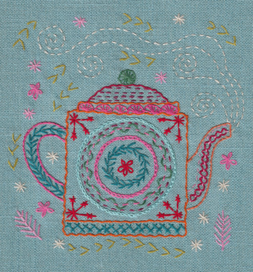 teapot embroidery flat shot