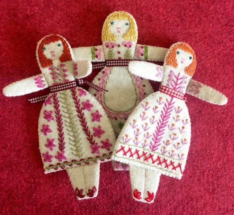 Three Folk Dolls embroidery kit