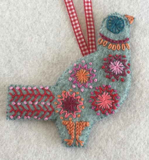 Three French Hens embroidery kit detail