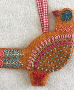 Three French Hens embroidery kit more detail