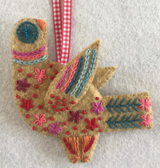 Three French Hens embroidery kit close up detail