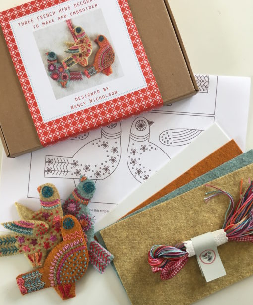 Three French Hens embroidery kit pack contents