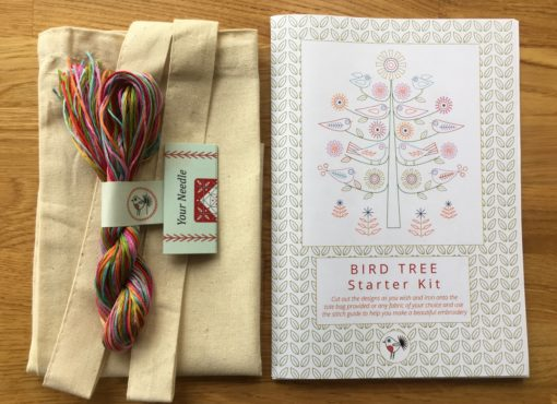 Bird Tree Starter Embroidery Kit pack contents