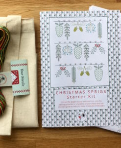 Christmas Sprigs embroidery kit pack contents
