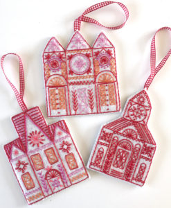 Three Buildings embroidery kit details