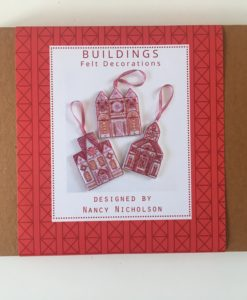 Three Buildings embroidery kit front packaging
