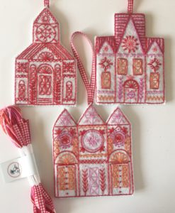Three Buildings embroidery kit contents