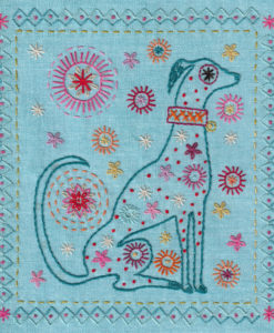 dog embroidery pattern flat shot