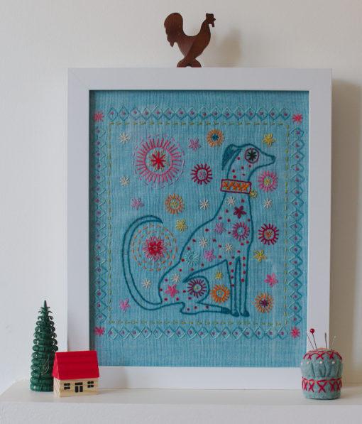 framed dog embroidery