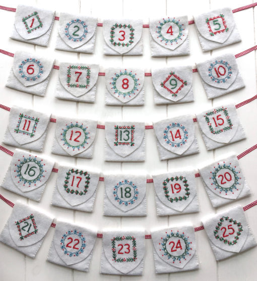 Advent calendar iron-on transfer for embroidery