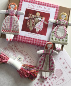 Three Folk Dolls embroidery kit pack contents